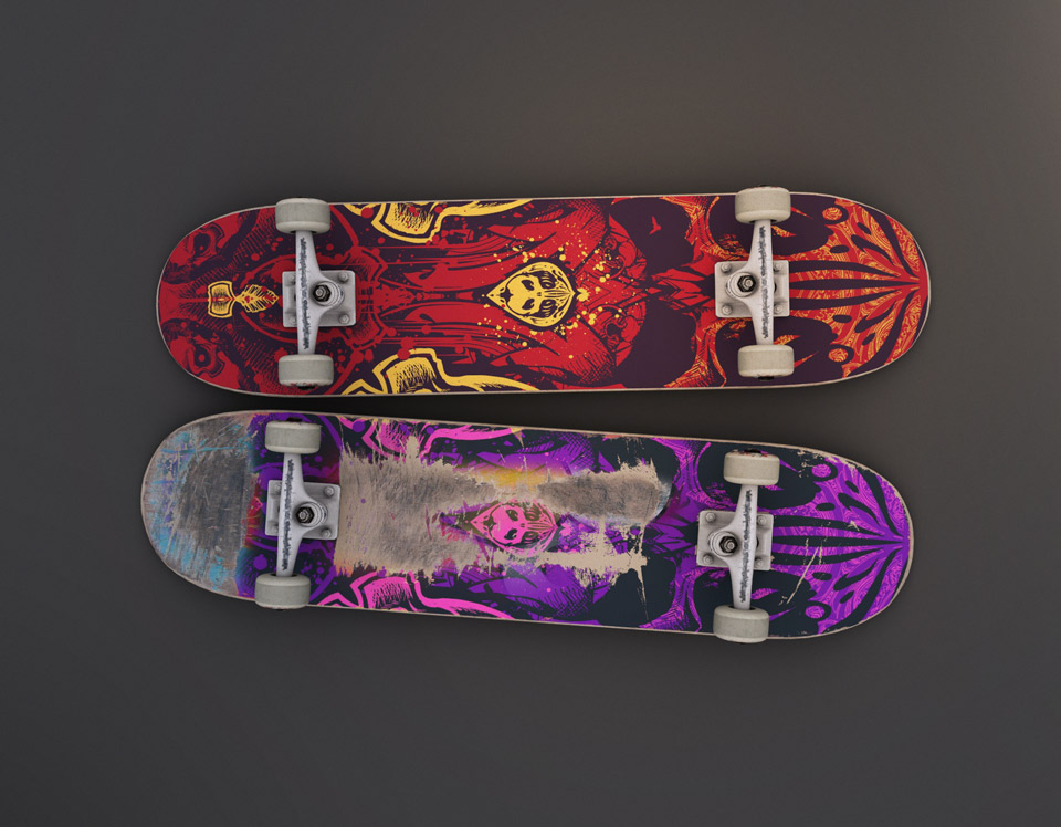 chemical storm skateboard with artwork by freakdesign